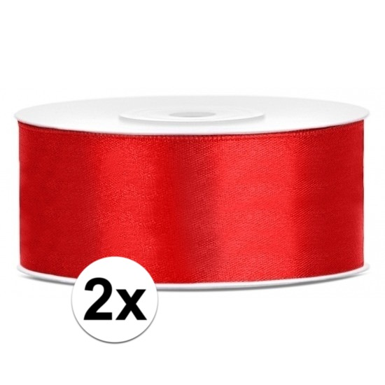 2x Hobby/decoratie rode satijnen sierlinten 2,5 cm/25 mm x 25 meter