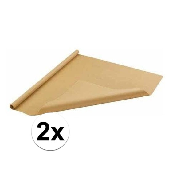 2x Inpakpapier/cadeaupapier bruin 500 x 70 cm op rol
