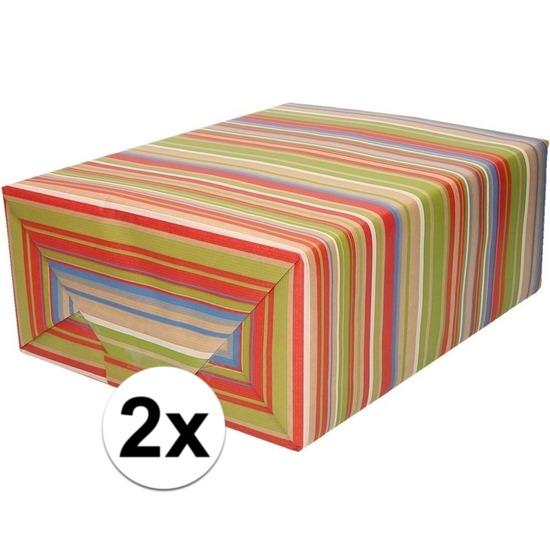 2x Inpakpapier/cadeaupapier gekleurde strepen 200 x 70 cm rol