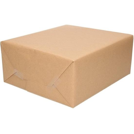 2x Inpakpapier/cadeaupapier kraft bruin rollen 500 x 70 cm
