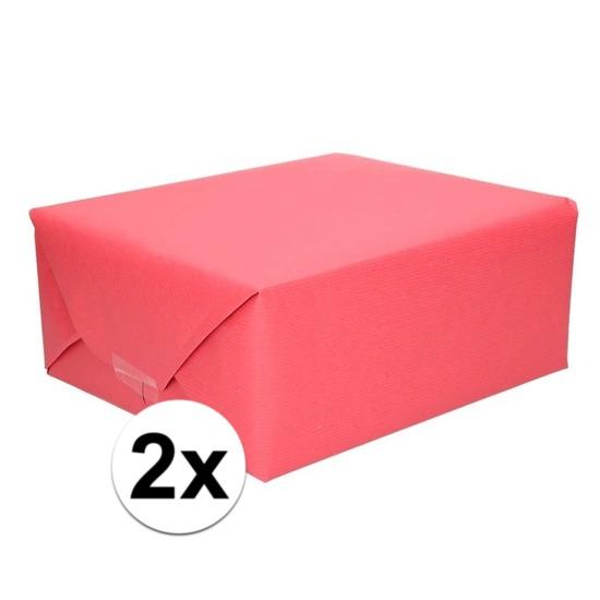 2x Inpakpapier/cadeaupapier rood kraftpapier 200 x 70 cm rollen