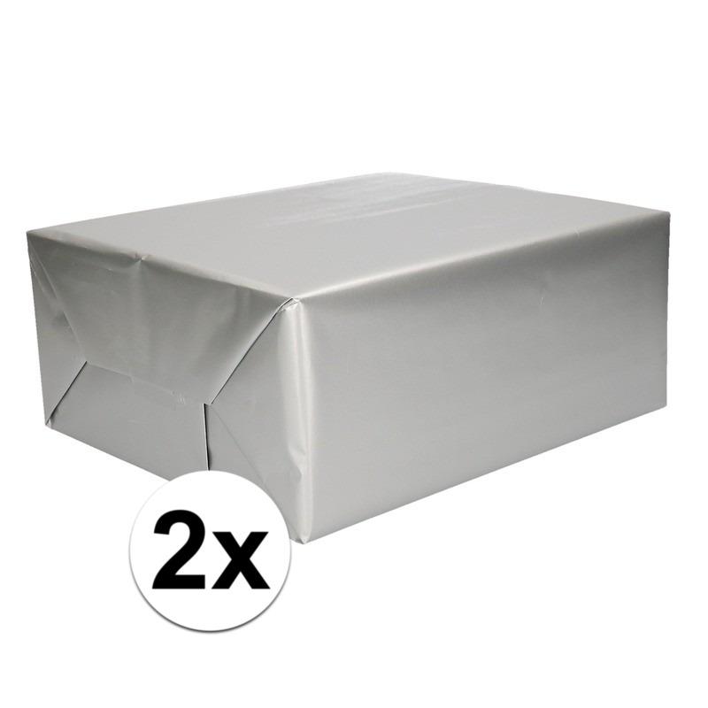 2x Inpakpapier/cadeaupapier zilver 200 x 70 cm op rol
