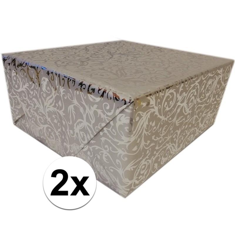 2x Inpakpapier/cadeaupapier zilver klassiek design 2x150 x 70 cm