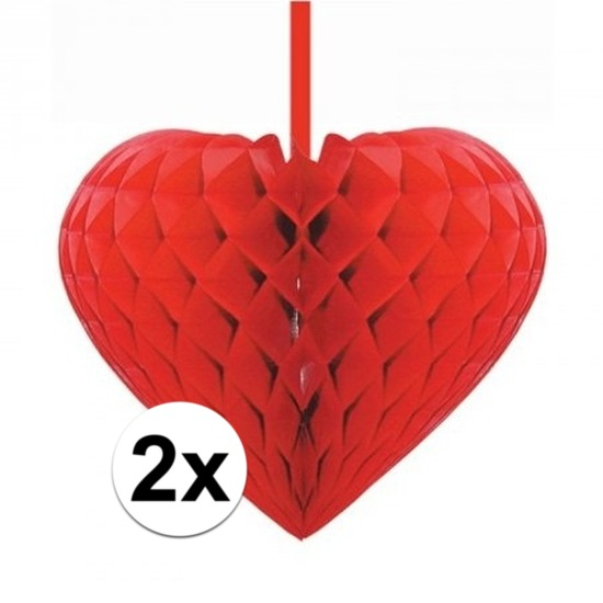 2x Rode decoratie hartjes versiering 15 cm