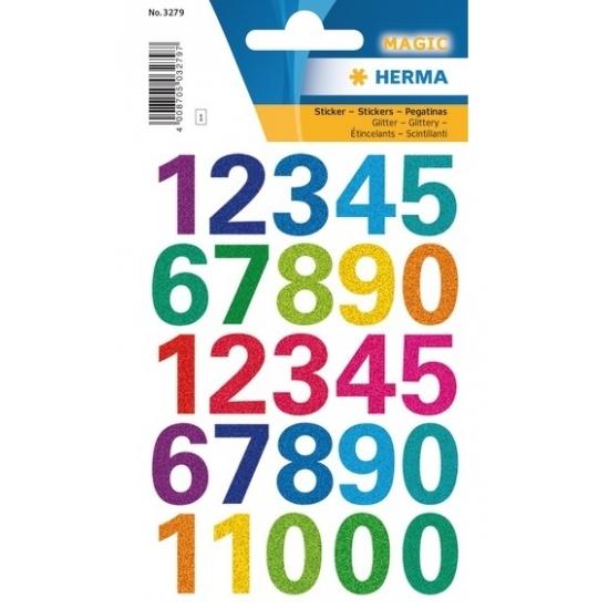 2x Stickervellen cijfers gekleurd