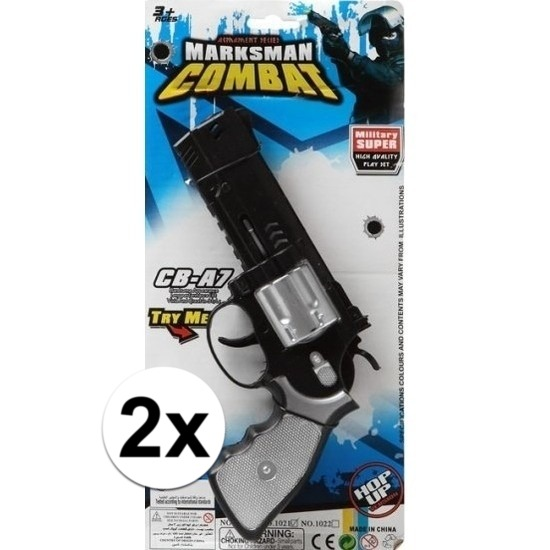 2x stuks Politie/militair speelgoed pistolen 35 cm