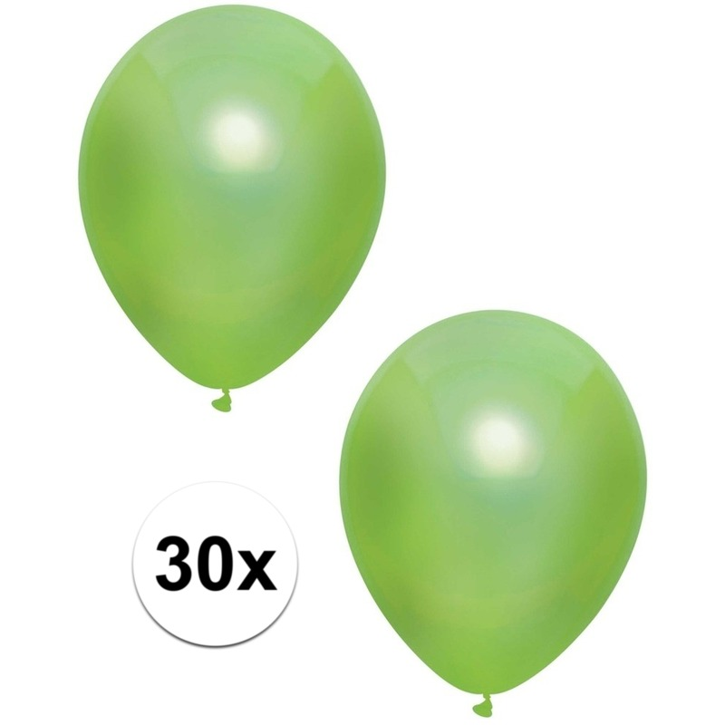 30x Lichtgroene metallic ballonnen 30 cm