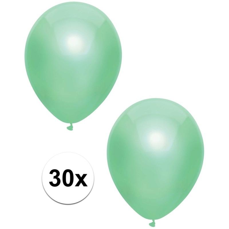 30x Mintgroene metallic ballonnen 30 cm
