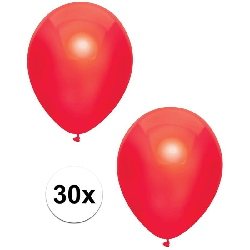 30x Rode metallic ballonnen 30 cm