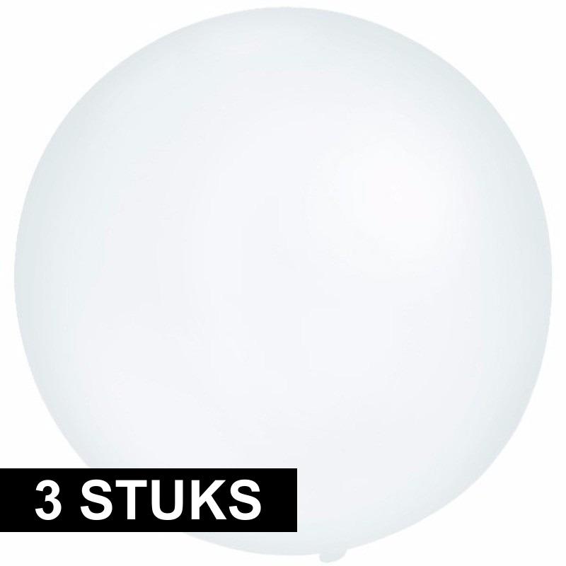 3x Grote ballonnen 60 cm transparant