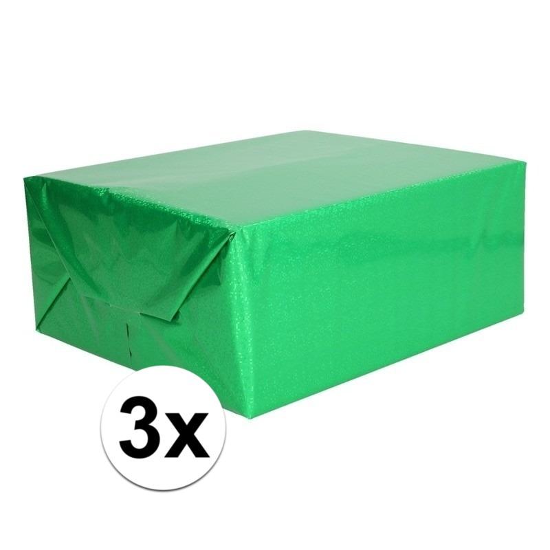 3x Holografische groen metallic folie - inpakpapier 70 x 150 cm