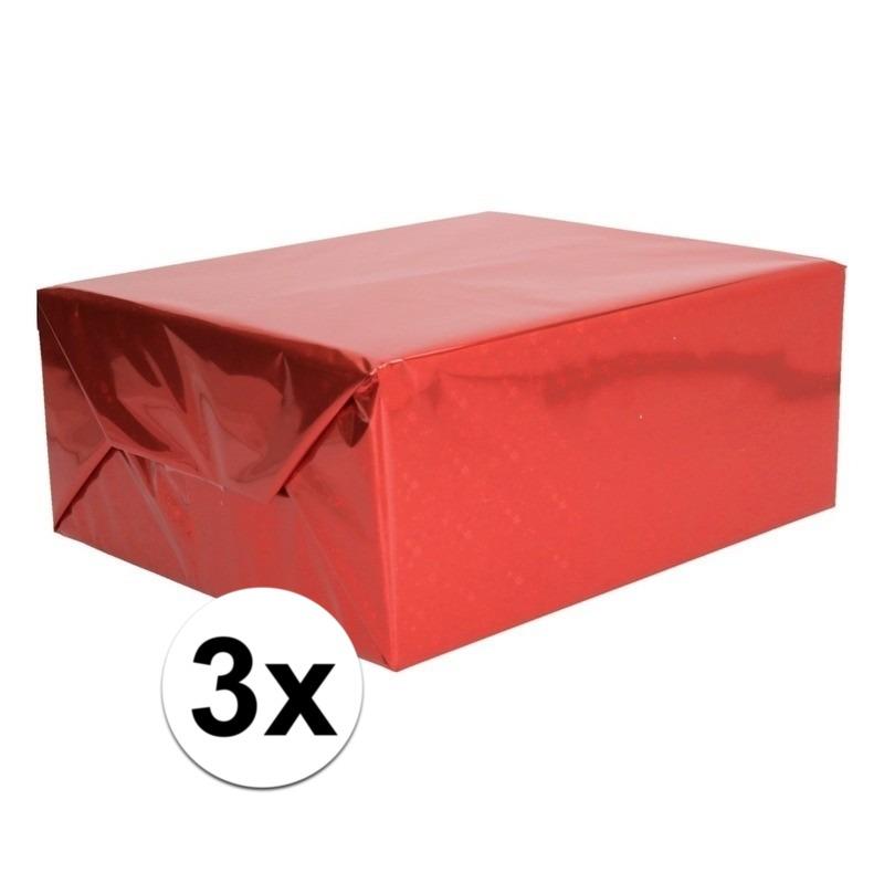 3x Holografische rood metallic folie - inpakpapier 70 x 150 cm