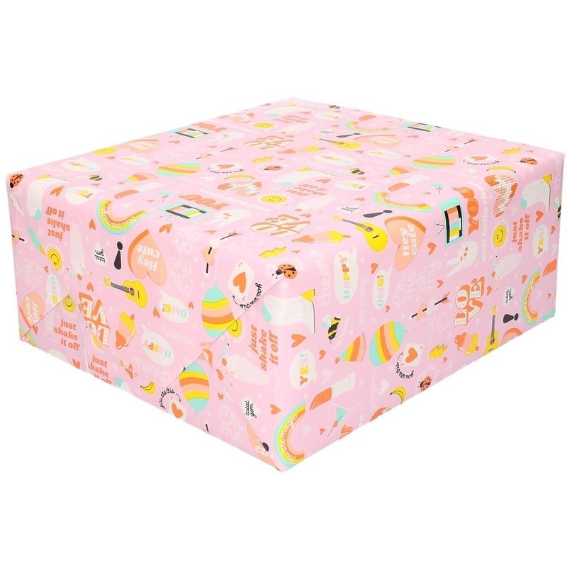 3x Inpakpapier/cadeaupapier girlpower 200 x 70 cm roze