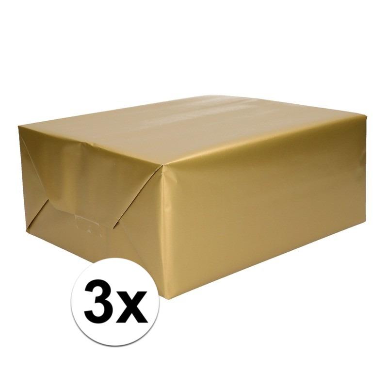 3x Inpakpapier/cadeaupapier goud 200 x 70 cm op rol