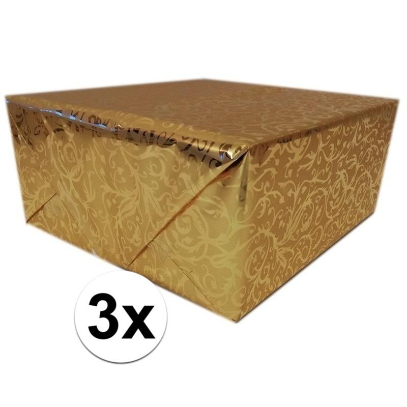 3x Inpakpapier/cadeaupapier goud klassiek design 150 x 70 cm