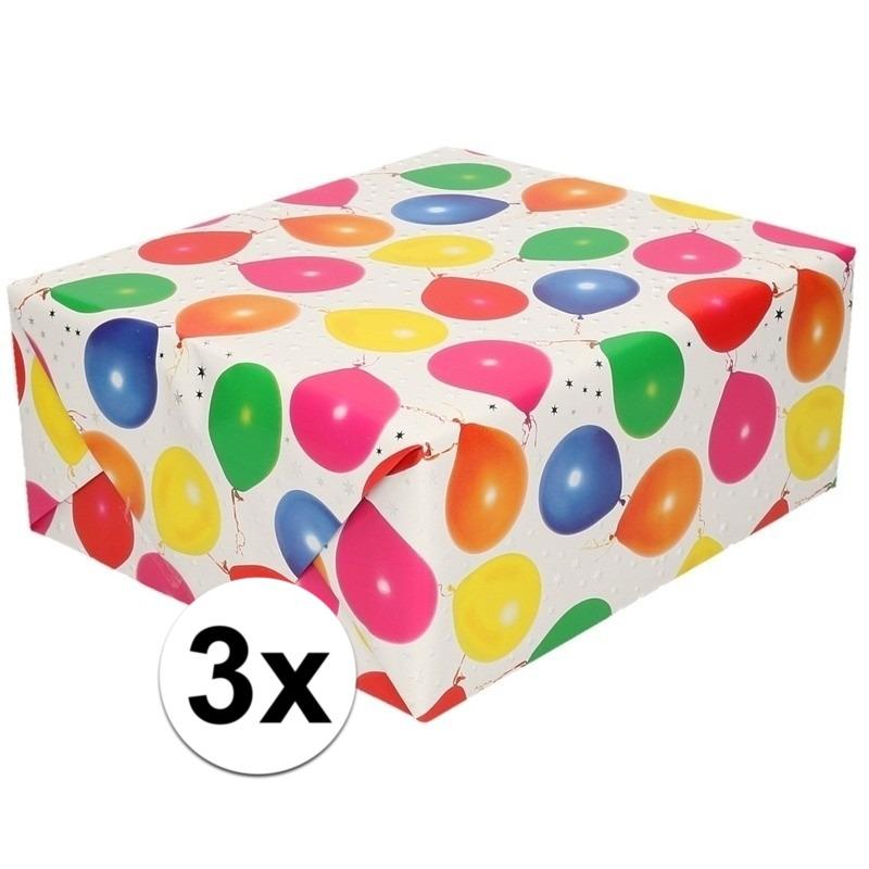 3x Inpakpapier/cadeaupapier metallic wit ballonnen 150 x 70 cm
