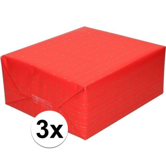3x Inpakpapier/cadeaupapier rood met gouden strepen 200 x 70 cm