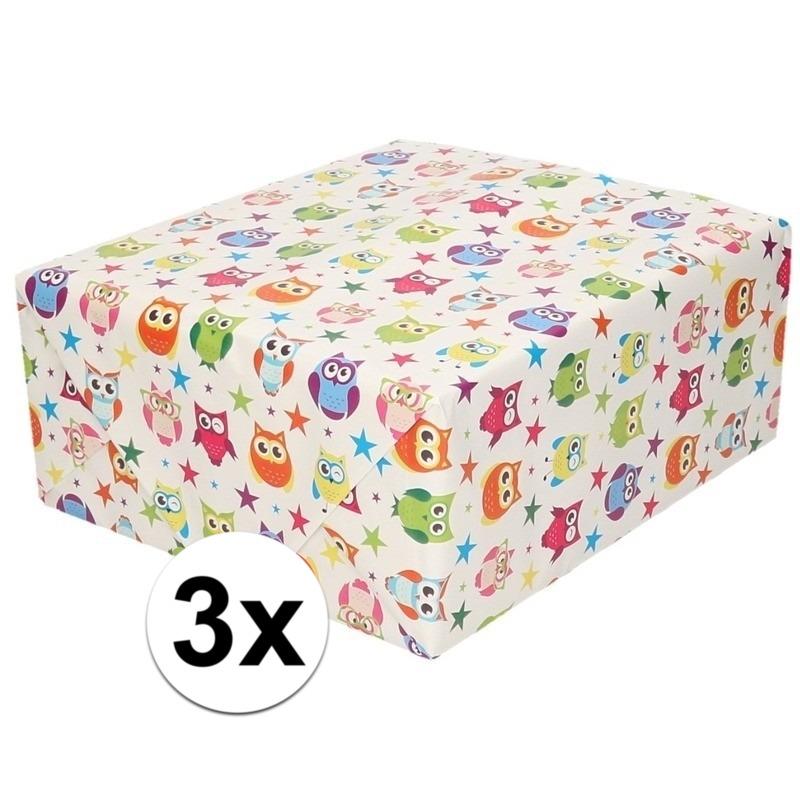 3x Inpakpapier/cadeaupapier wit en gekleurde uiltjes 200 x 70 cm