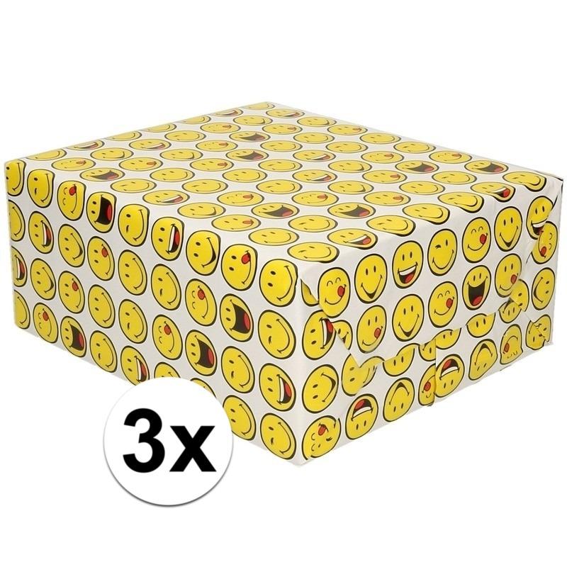 3x Inpakpapier/cadeaupapier wit met smileys 200 x 70 cm
