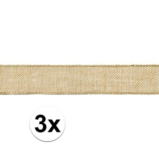 3x Jute cadeaulint/decoratielint 5 x 500 cm op rol