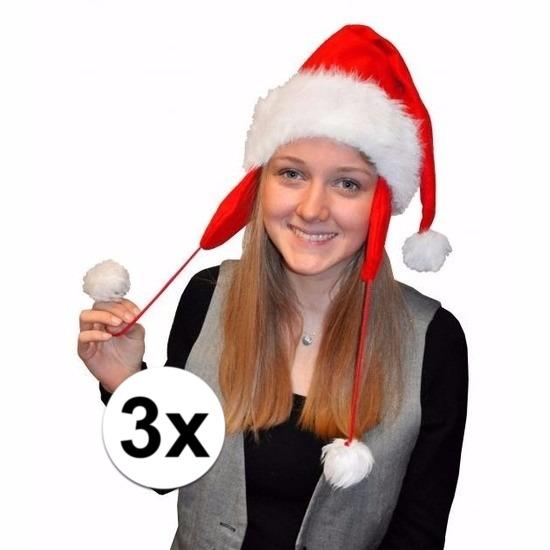 3x Kerstmuts pluche met oorflappen voor volwassenen