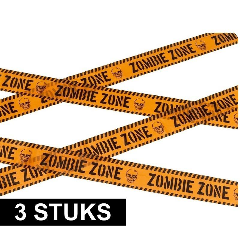 3x Markeerlint Halloween Zombie zone 6 meter