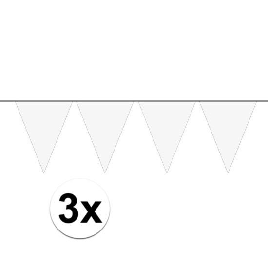 3x Mini vlaggenlijn - slinger versiering wit
