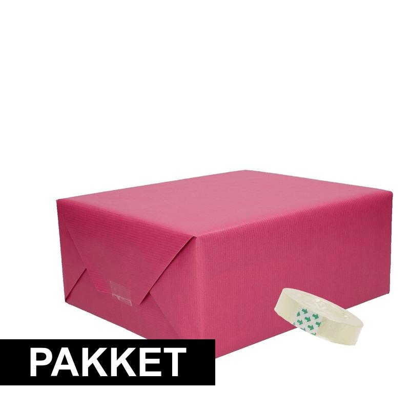 3x Paars kraft inpakpapier met rolletje plakband pakket 8