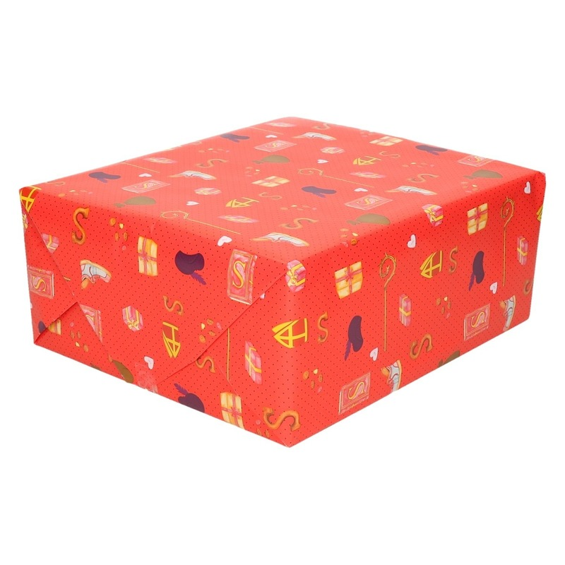 3x Sinterklaas inpakpapier/cadeaupapier print rood 250 x 70 cm