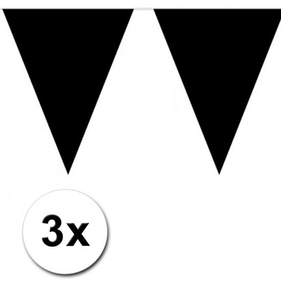 3x Vlaggenlijn zwart 10 meter