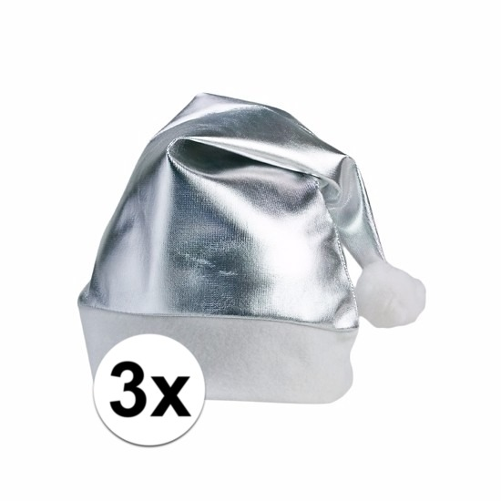 3x zilveren glimmende kerstmuts voor volwassenen