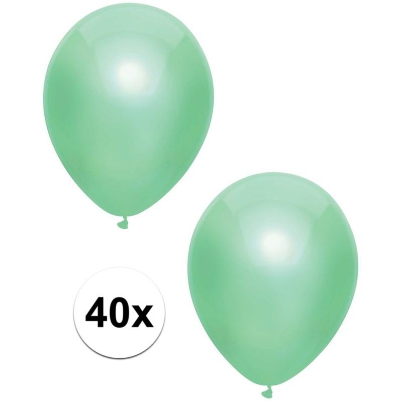 40x Mintgroene metallic ballonnen 30 cm