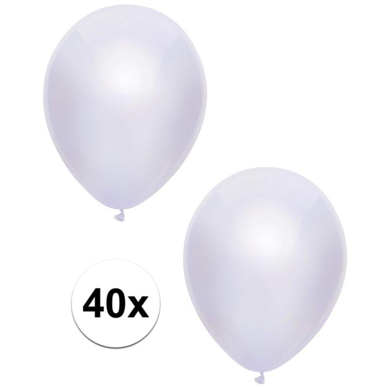 40x Witte metallic ballonnen 30 cm