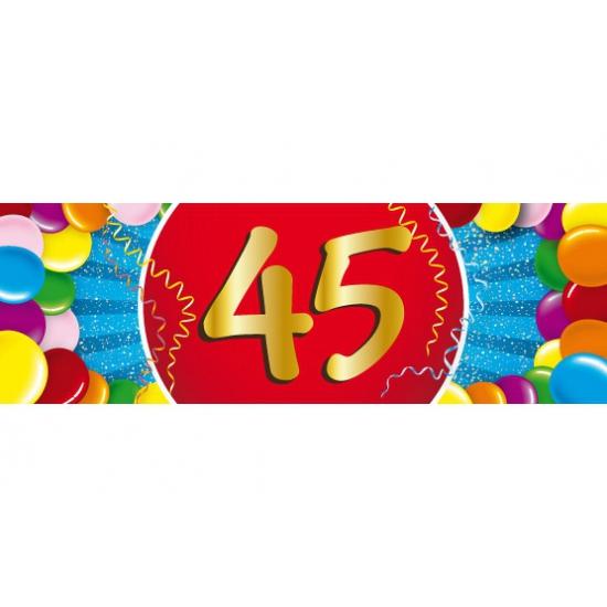 45 jaar leeftijd sticker 19 x 6 cm verjaardag versiering