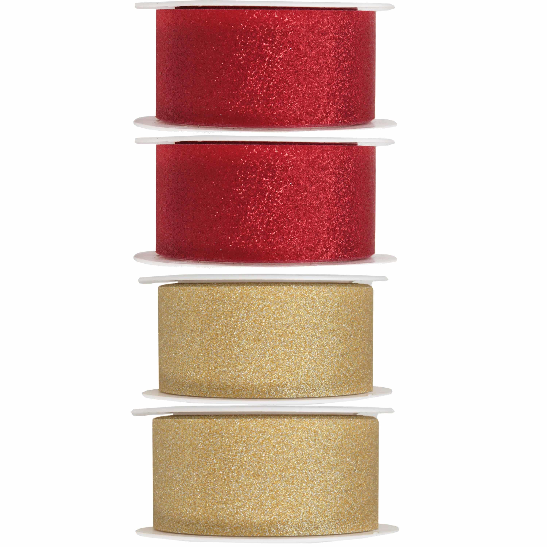 4x Hobby/decoratie rood en gouden sierlinten met glitters 3 cm/30 mm x 5 meter