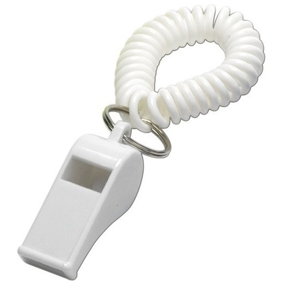 4x Witte fluitjes aan polsbandje