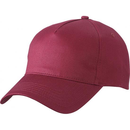 5-panel baseball petjes /caps in de kleur bordeaux rood