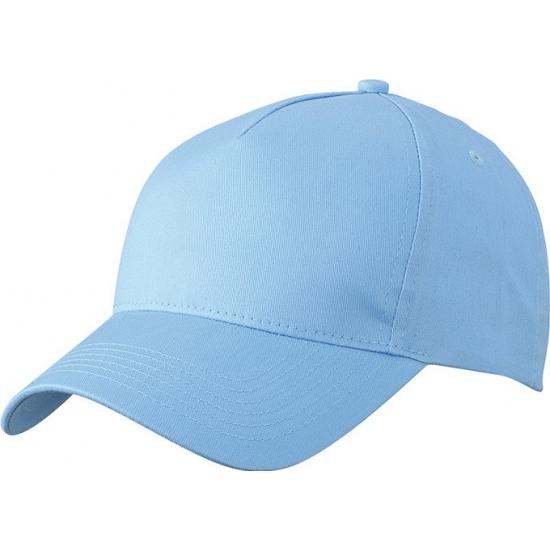 5-panel baseball petjes /caps in de kleur lichtblauw