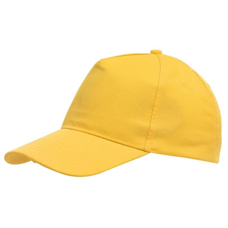 5-panel baseballcap geel met klittenbandsluiting voor volwassenen