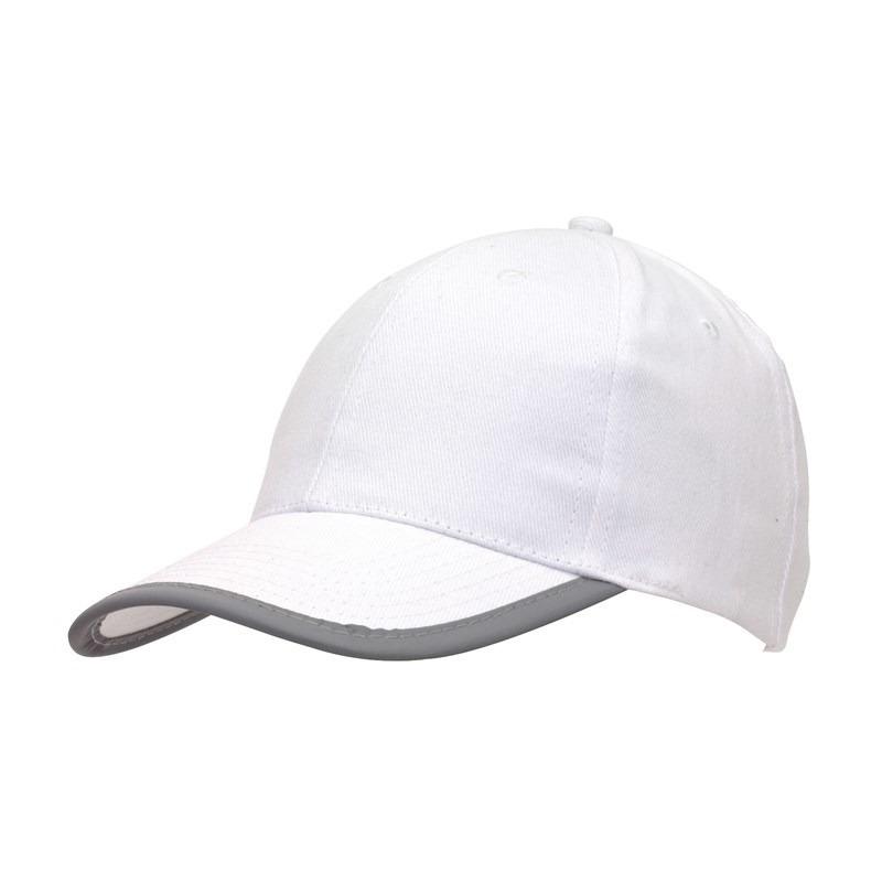 5-panel baseballcap wit met reflecterende rand voor volwassenen
