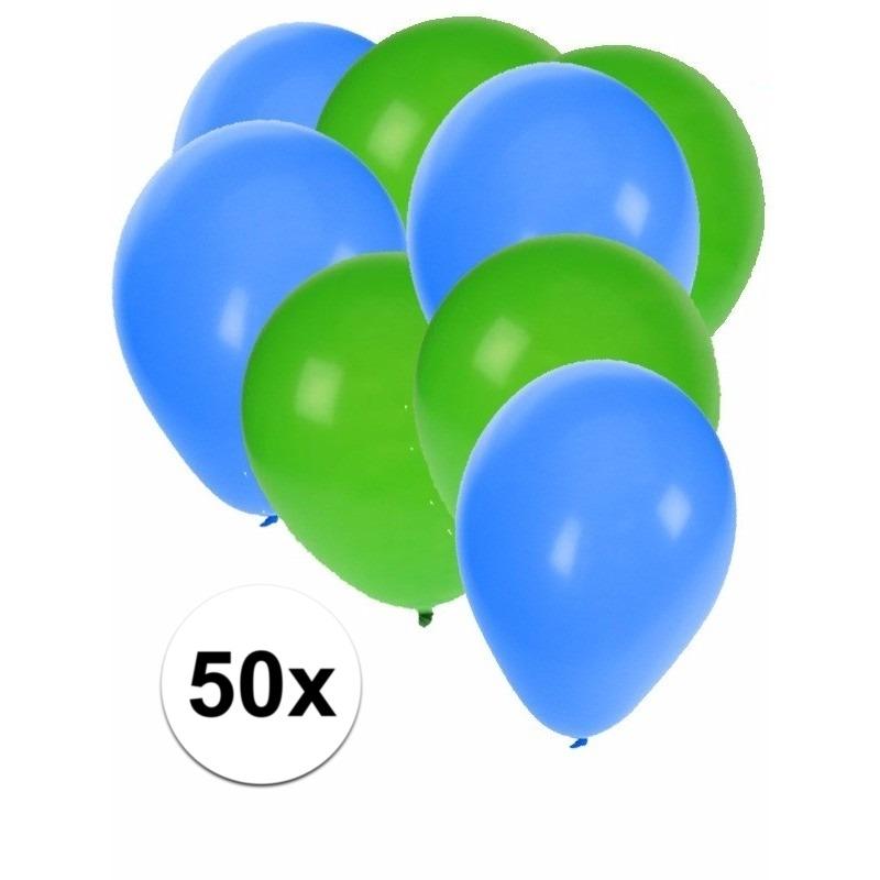 50x ballonnen - 27 cm - groen - blauwe versiering