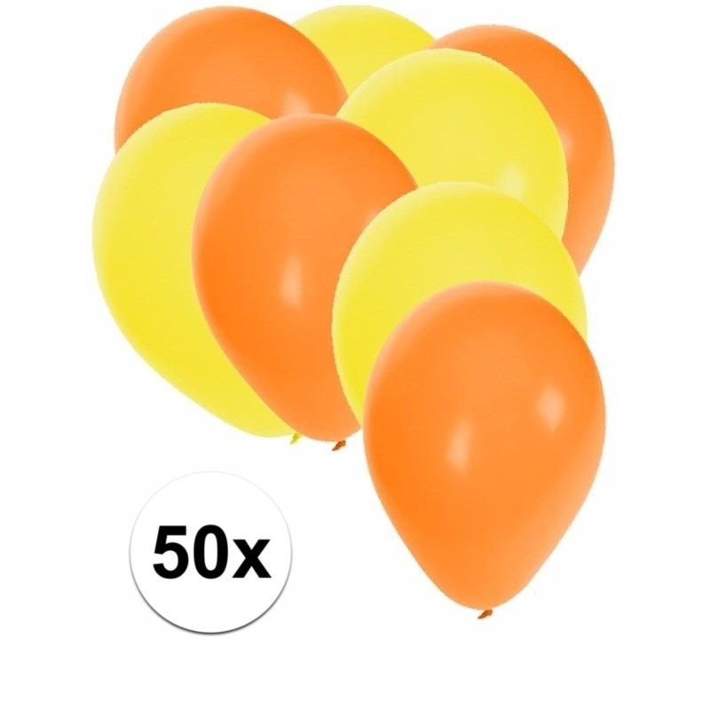 50x ballonnen - 27 cm - oranje - gele versiering