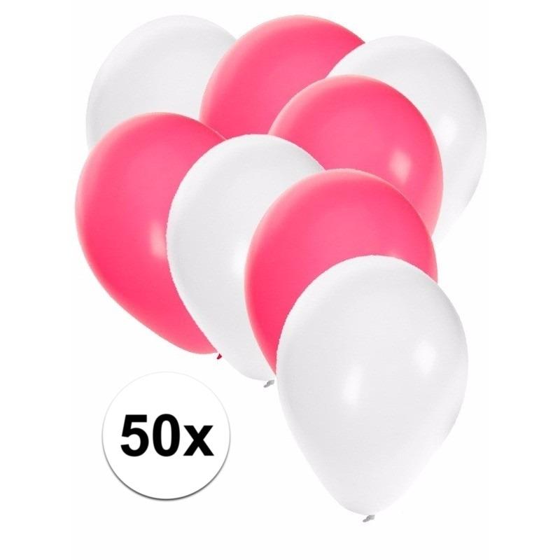 50x ballonnen - 27 cm - wit - roze versiering