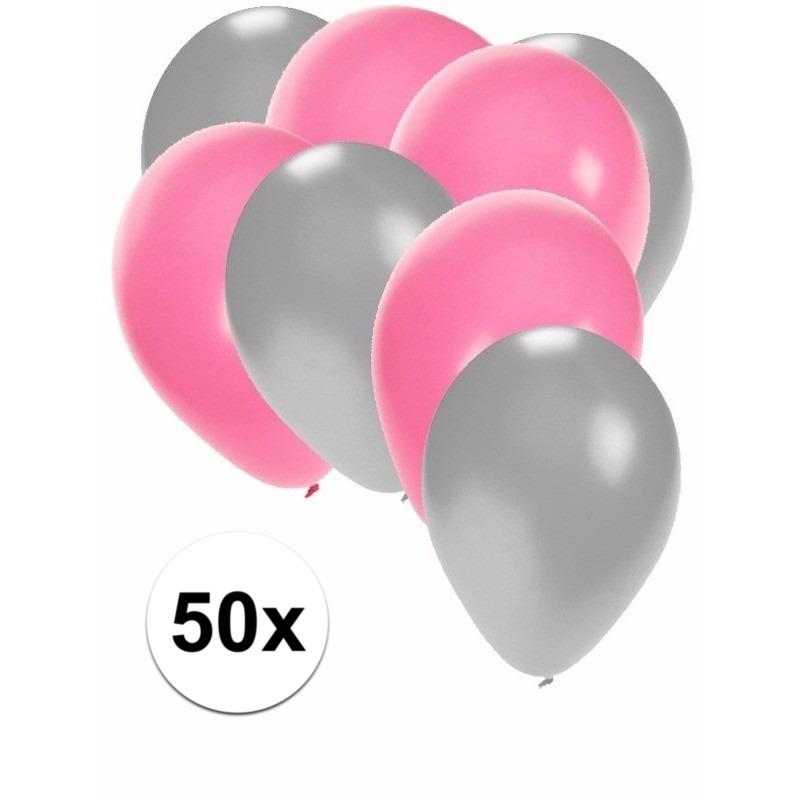 50x ballonnen - 27 cm - zilver - lichtroze versiering