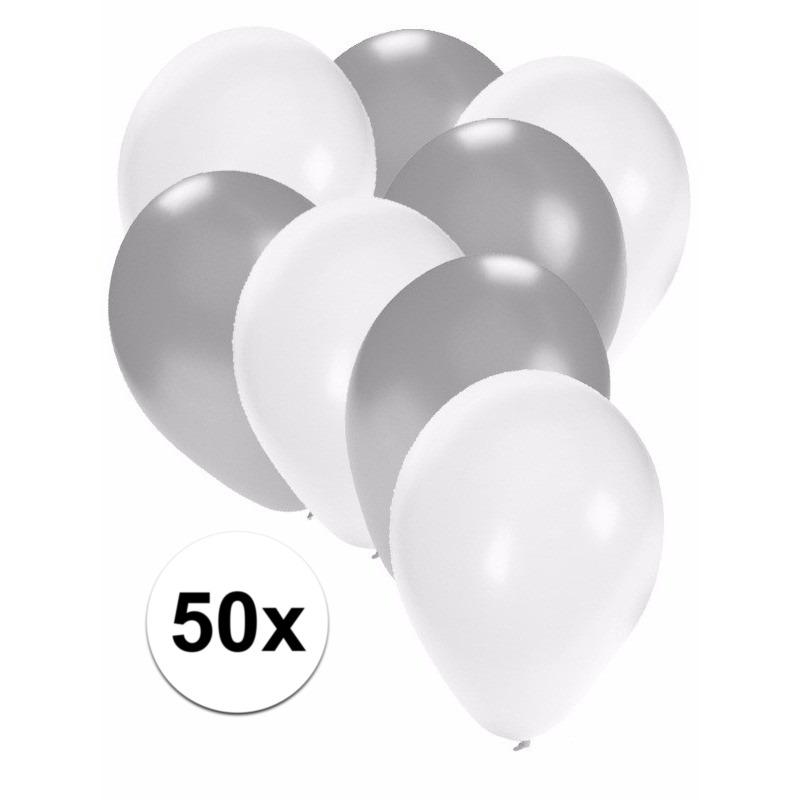 50x ballonnen - 27 cm - zilver - witte versiering