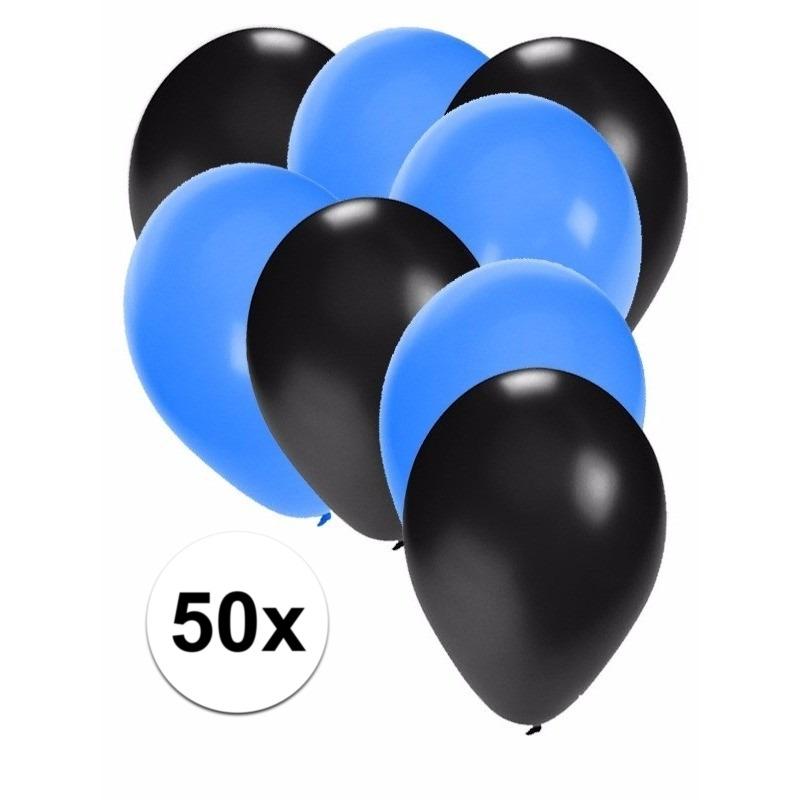 50x ballonnen - 27 cm - zwart - blauwe versiering