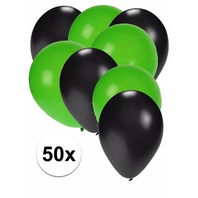 50x ballonnen - 27 cm - zwart - groene versiering