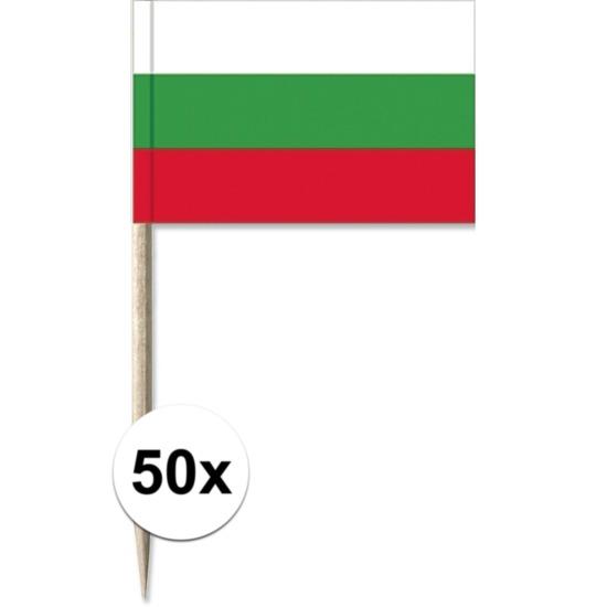 50x Cocktailprikkers Bulgarije 8 cm vlaggetje landen decoratie