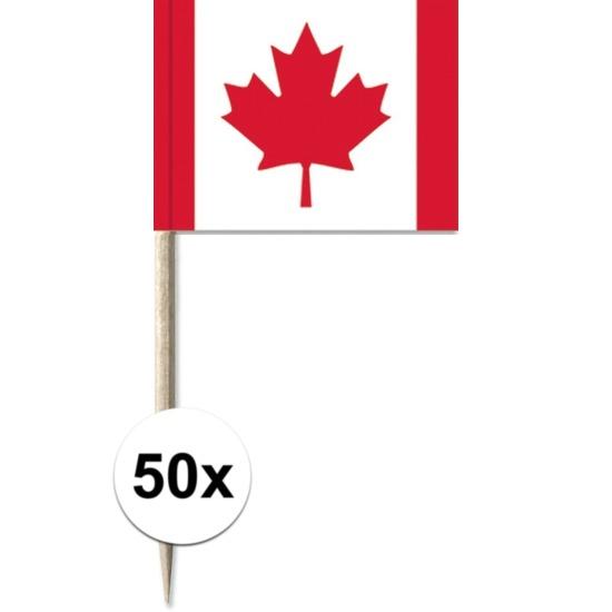 50x Cocktailprikkers Canada 8 cm vlaggetje landen decoratie
