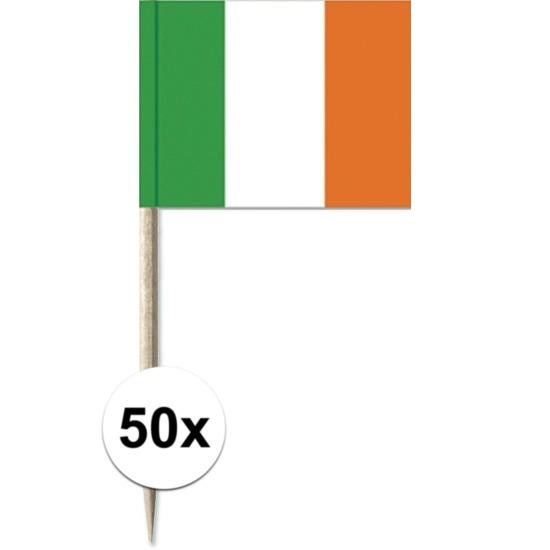 50x Cocktailprikkers Ierland 8 cm vlaggetje landen decoratie